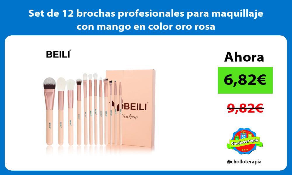 Set de 12 brochas profesionales para maquillaje con mango en color oro rosa