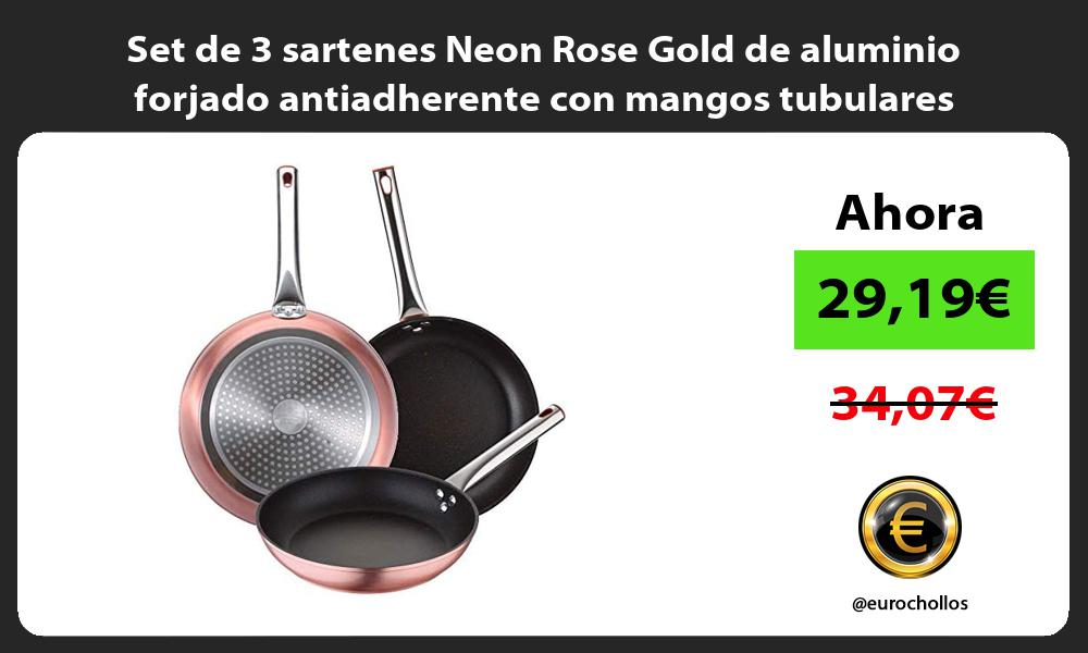 Set de 3 sartenes Neon Rose Gold de aluminio forjado antiadherente con mangos tubulares