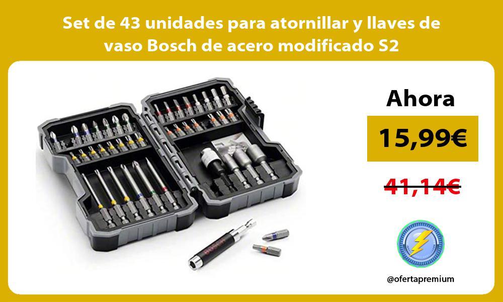 Set de 43 unidades para atornillar y llaves de vaso Bosch de acero modificado S2