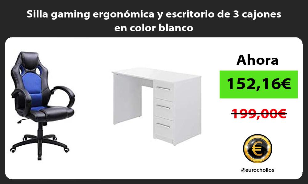 Silla gaming ergonómica y escritorio de 3 cajones en color blanco
