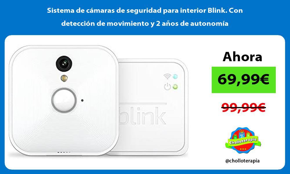 Sistema de cámaras de seguridad para interior Blink Con detección de movimiento y 2 años de autonomía
