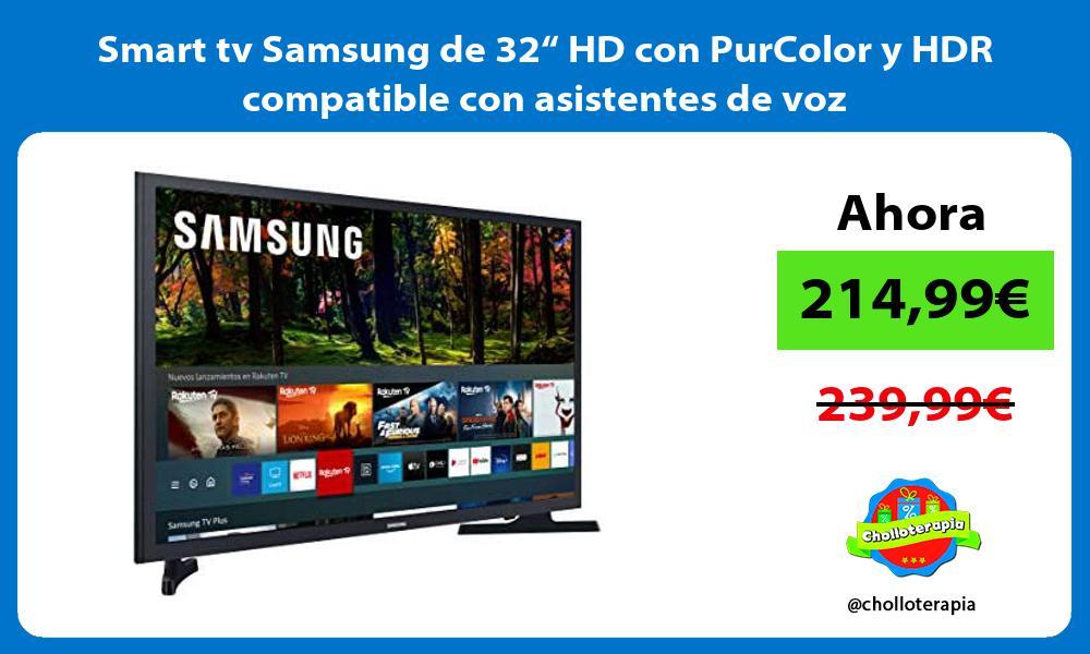 """Smart tv Samsung de 32"""" HD con PurColor y HDR compatible con asistentes de voz"""