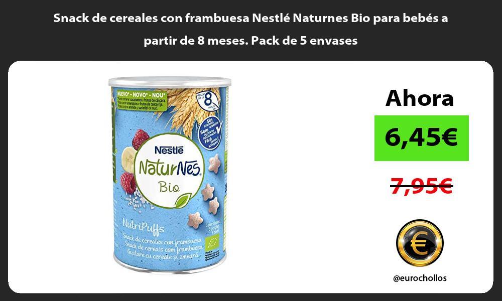 Snack de cereales con frambuesa Nestlé Naturnes Bio para bebés a partir de 8 meses Pack de 5 envases