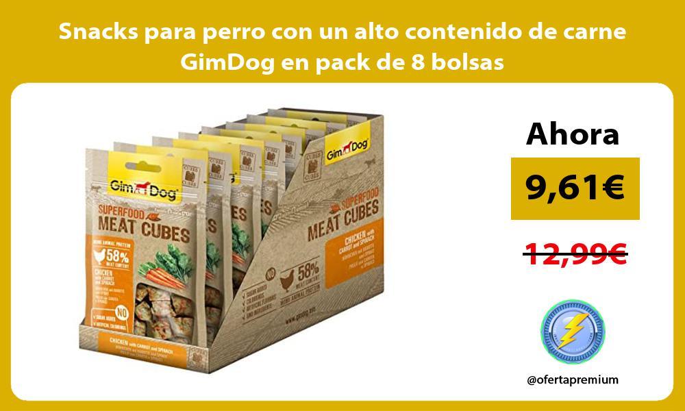 Snacks para perro con un alto contenido de carne GimDog en pack de 8 bolsas