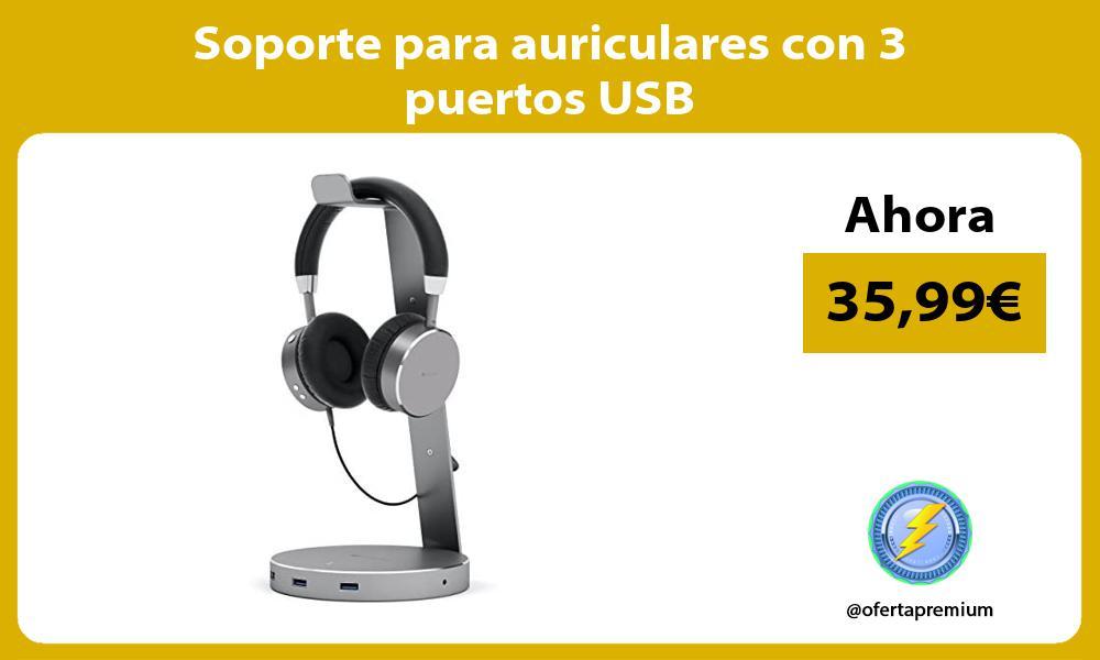 Soporte para auriculares con 3 puertos USB