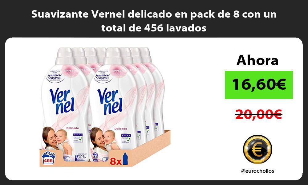 Suavizante Vernel delicado en pack de 8 con un total de 456 lavados