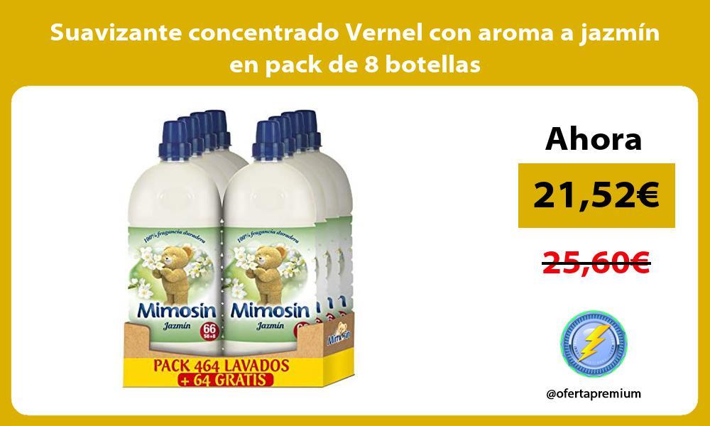 Suavizante concentrado Vernel con aroma a jazmín en pack de 8 botellas