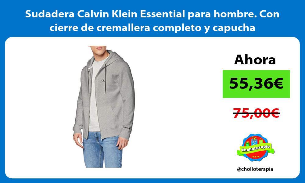 Sudadera Calvin Klein Essential para hombre Con cierre de cremallera completo y capucha