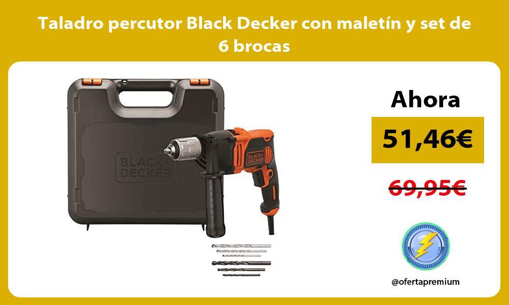 Taladro percutor Black Decker con maletín y set de 6 brocas