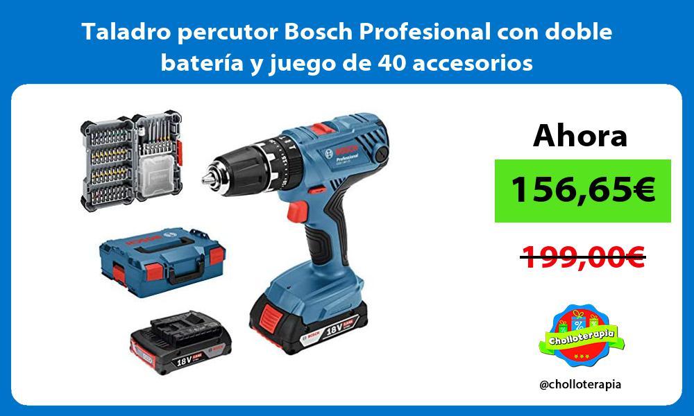 Taladro percutor Bosch Profesional con doble batería y juego de 40 accesorios