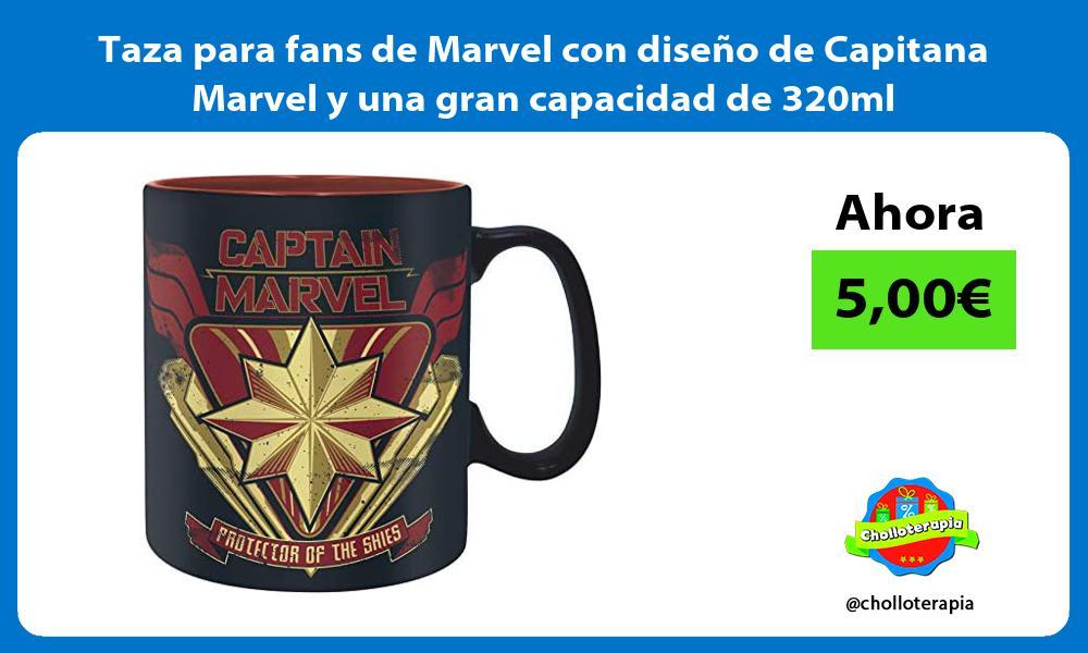 Taza para fans de Marvel con diseño de Capitana Marvel y una gran capacidad de 320ml
