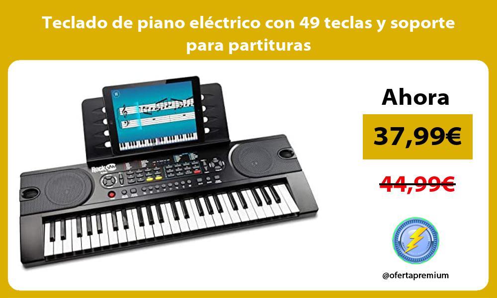 Teclado de piano eléctrico con 49 teclas y soporte para partituras