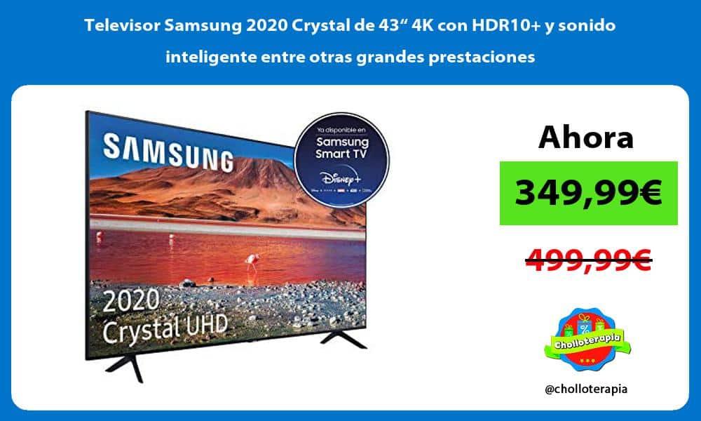 """Televisor Samsung 2020 Crystal de 43"""" 4K con HDR10 y sonido inteligente entre otras grandes prestaciones"""