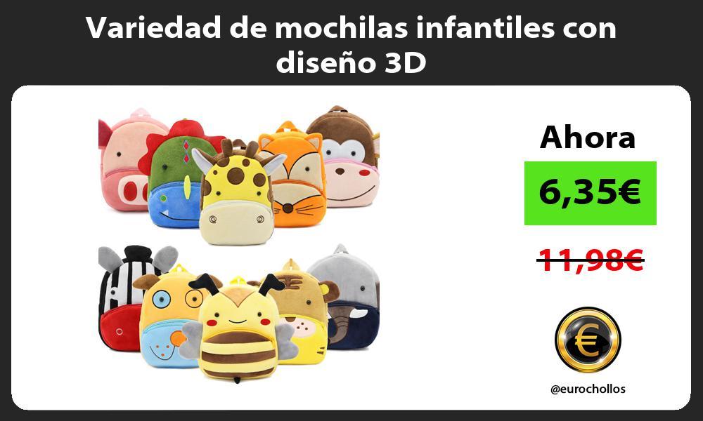 Variedad de mochilas infantiles con diseño 3D