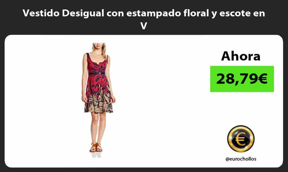 Vestido Desigual con estampado floral y escote en V