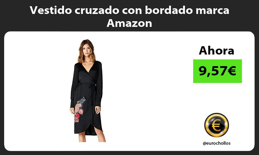 Vestido cruzado con bordado marca Amazon