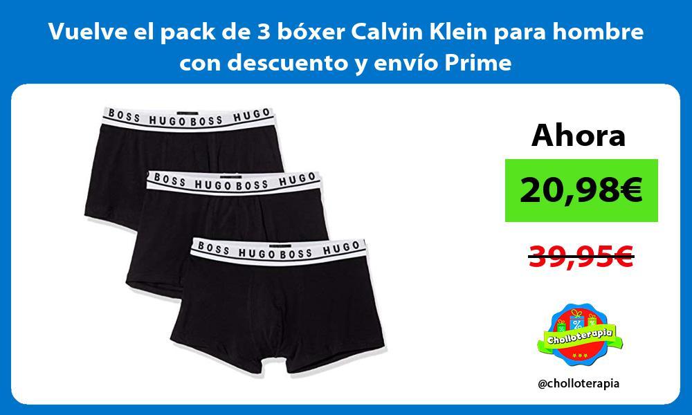 Vuelve el pack de 3 bóxer Calvin Klein para hombre con descuento y envío Prime