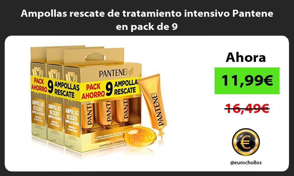 Ampollas rescate de tratamiento intensivo Pantene en pack de 9