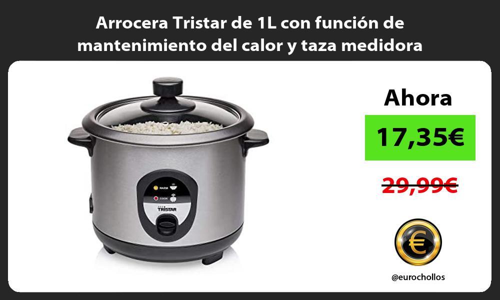 Arrocera Tristar de 1L con función de mantenimiento del calor y taza medidora