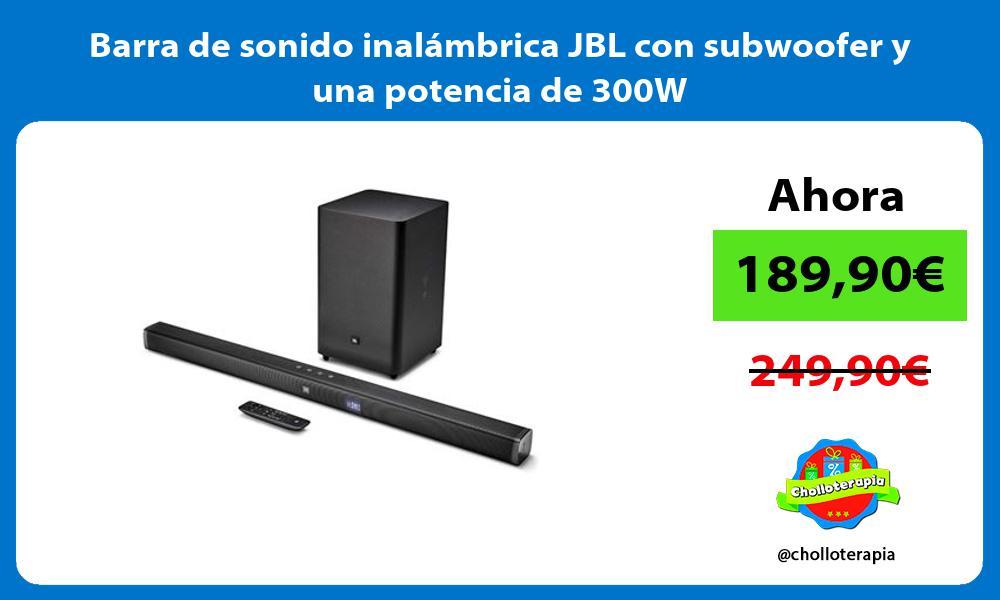 Barra de sonido inalambrica JBL con subwoofer y una potencia de 300W