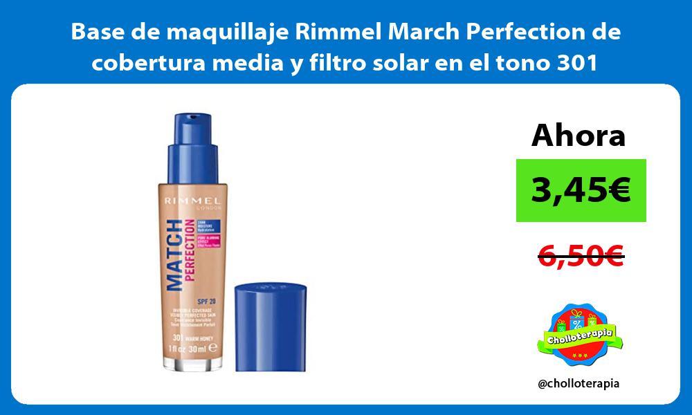 Base de maquillaje Rimmel March Perfection de cobertura media y filtro solar en el tono 301