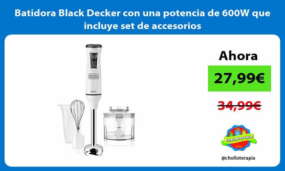 Batidora Black Decker con una potencia de 600W que incluye set de accesorios
