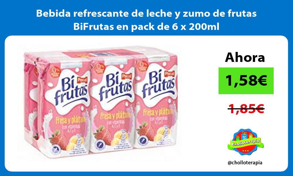 Bebida refrescante de leche y zumo de frutas BiFrutas en pack de 6 x 200ml