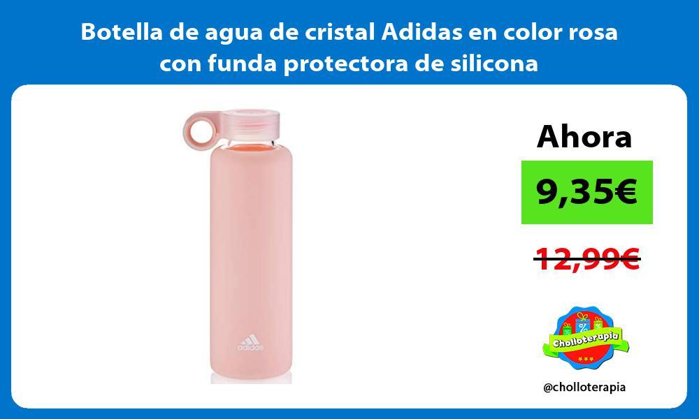 Botella de agua de cristal Adidas en color rosa con funda protectora de silicona