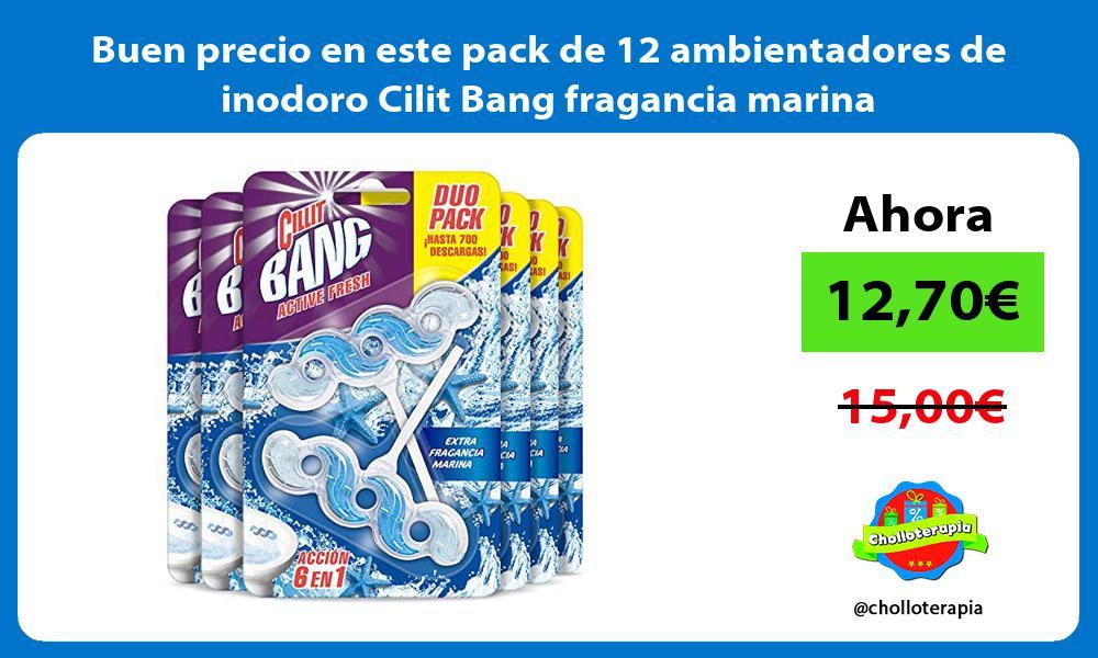 Buen precio en este pack de 12 ambientadores de inodoro Cilit Bang fragancia marina