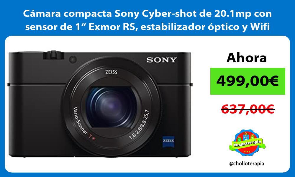 """Cámara compacta Sony Cyber shot de 20 1mp con sensor de 1"""" Exmor RS estabilizador óptico y Wifi"""