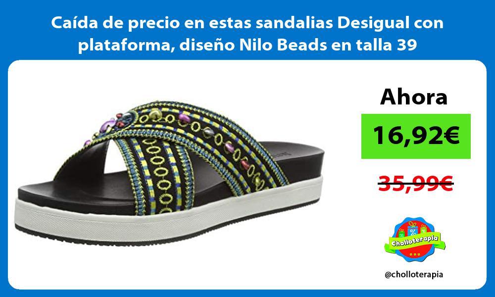 Caida de precio en estas sandalias Desigual con plataforma diseno Nilo Beads en talla 39