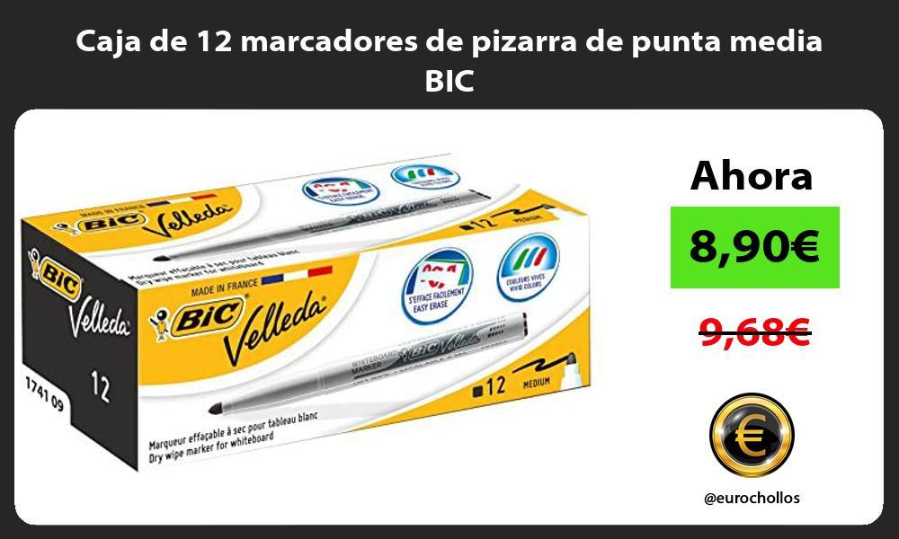 Caja de 12 marcadores de pizarra de punta media BIC