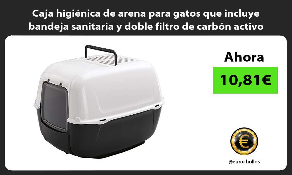 Caja higienica de arena para gatos que incluye bandeja sanitaria y doble filtro de carbon activo