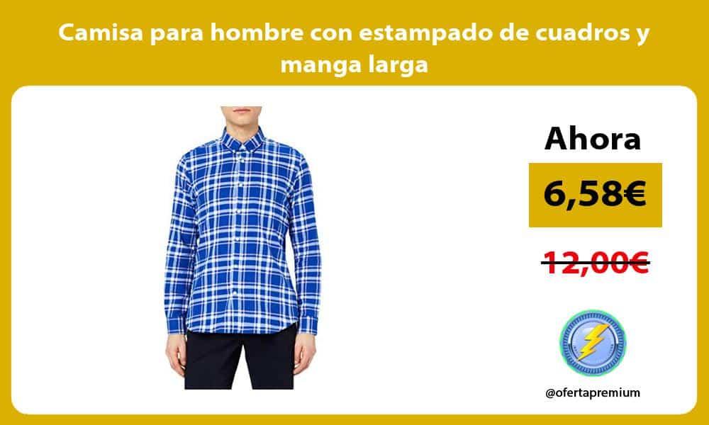 Camisa para hombre con estampado de cuadros y manga larga