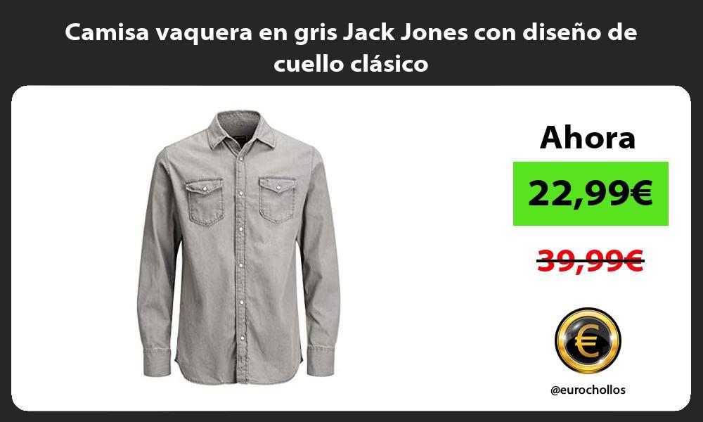 Camisa vaquera en gris Jack Jones con diseno de cuello clasico