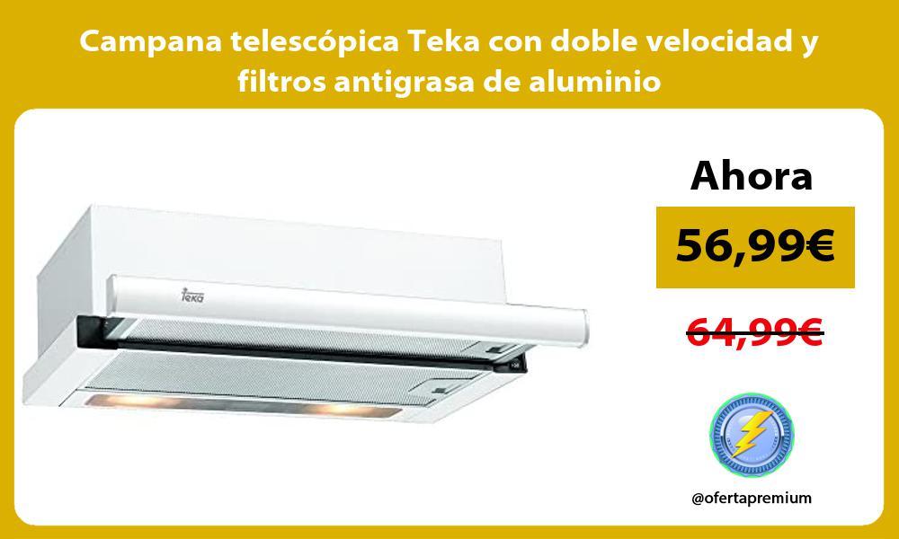 Campana telescopica Teka con doble velocidad y filtros antigrasa de aluminio