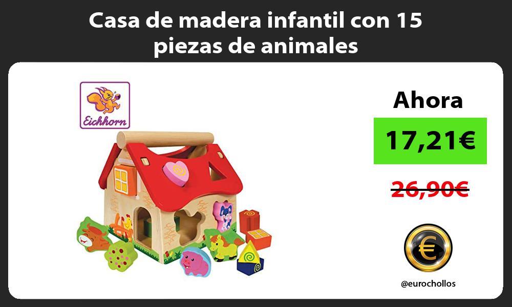 Casa de madera infantil con 15 piezas de animales