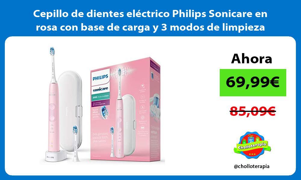 Cepillo de dientes electrico Philips Sonicare en rosa con base de carga y 3 modos de limpieza