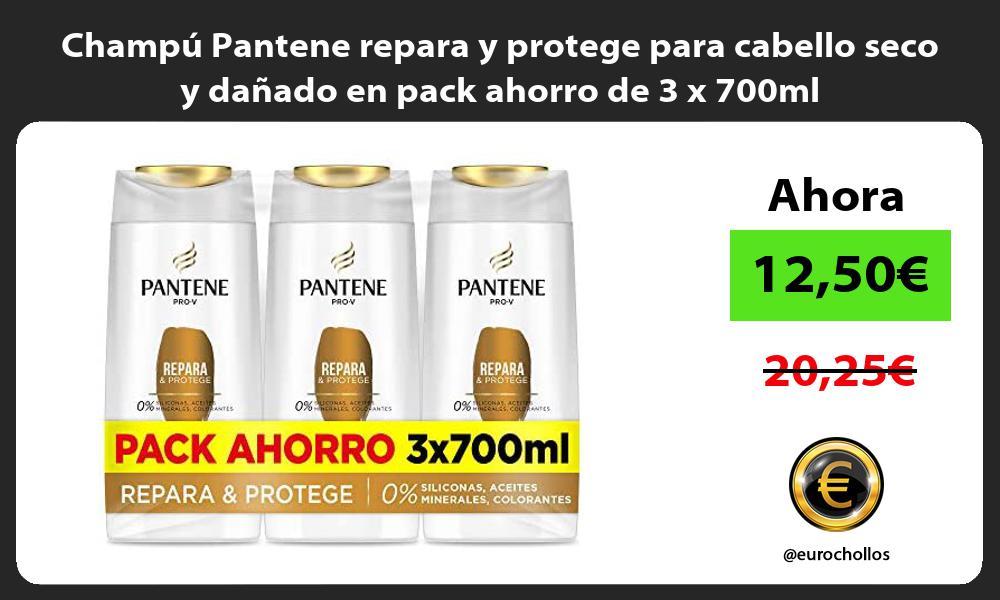 Champú Pantene repara y protege para cabello seco y dañado en pack ahorro de 3 x 700ml