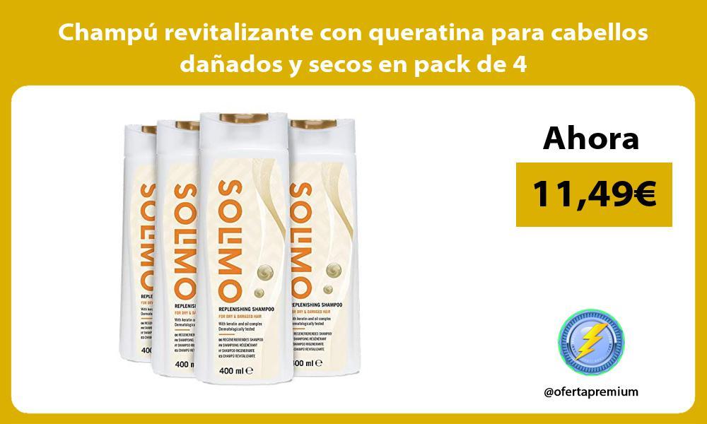 Champu revitalizante con queratina para cabellos danados y secos en pack de 4
