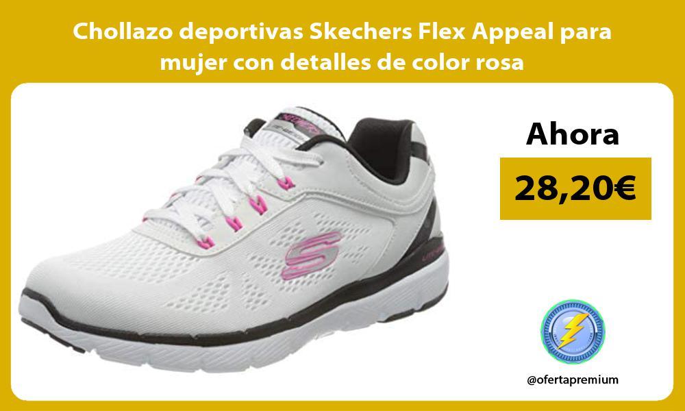 Chollazo deportivas Skechers Flex Appeal para mujer con detalles de color rosa