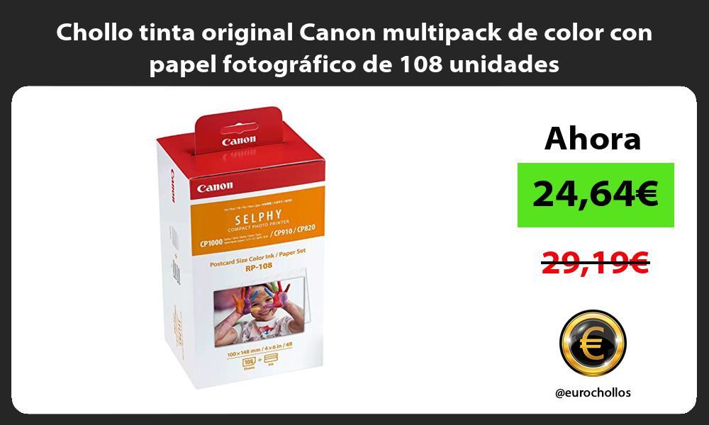Chollo tinta original Canon multipack de color con papel fotografico de 108 unidades