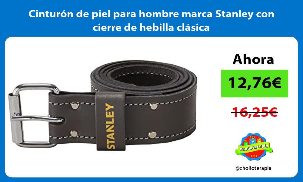 Cinturón de piel para hombre marca Stanley con cierre de hebilla clásica
