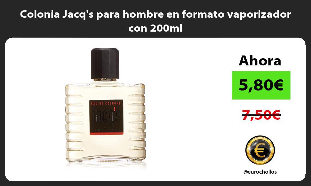 Colonia Jacqs para hombre en formato vaporizador con 200ml