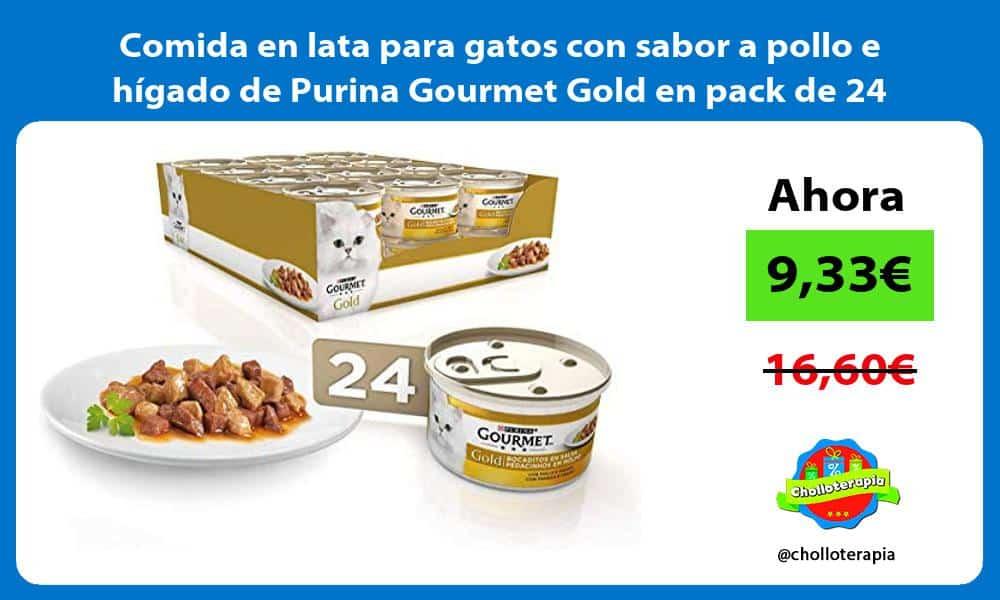 Comida en lata para gatos con sabor a pollo e hígado de Purina Gourmet Gold en pack de 24