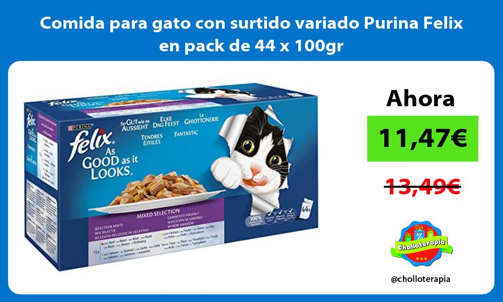 Comida para gato con surtido variado Purina Felix en pack de 44 x 100gr