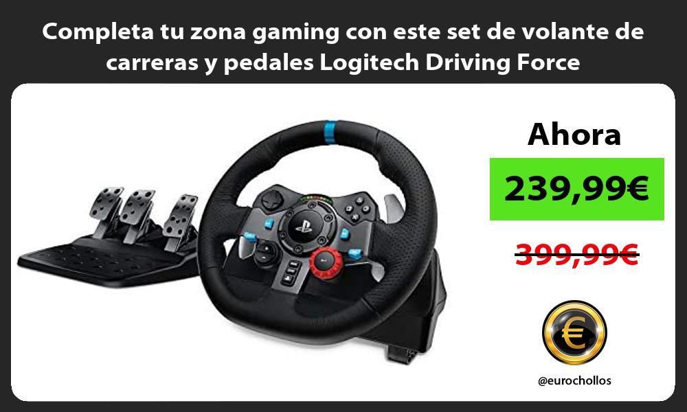 Completa tu zona gaming con este set de volante de carreras y pedales Logitech Driving Force