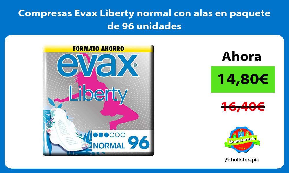 Compresas Evax Liberty normal con alas en paquete de 96 unidades