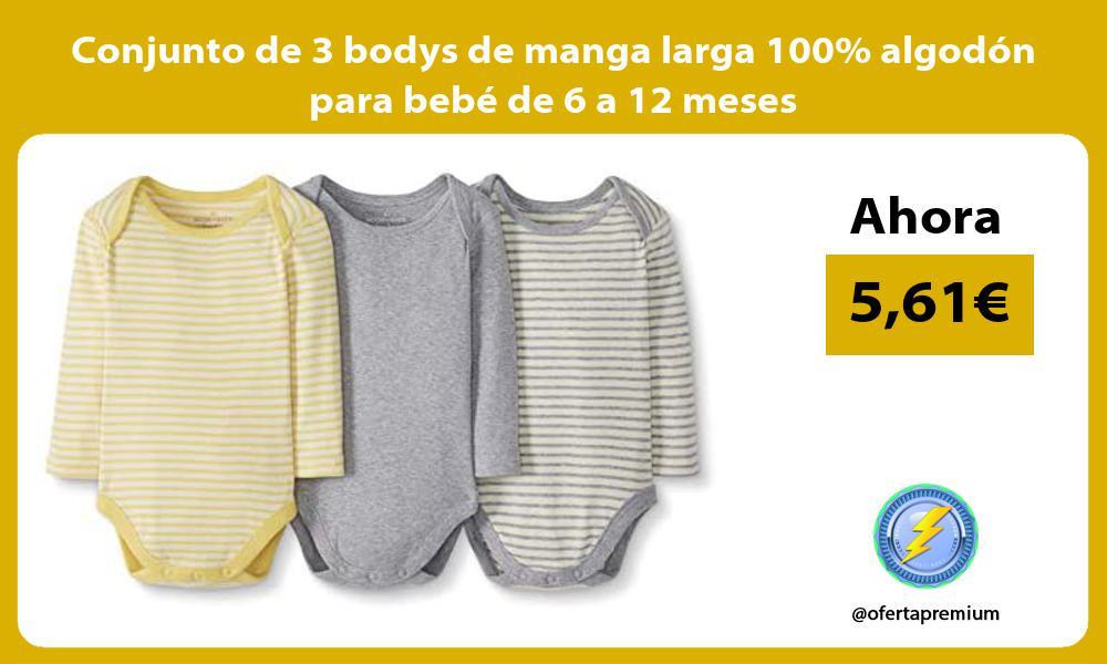 Conjunto de 3 bodys de manga larga 100 algodon para bebe de 6 a 12 meses