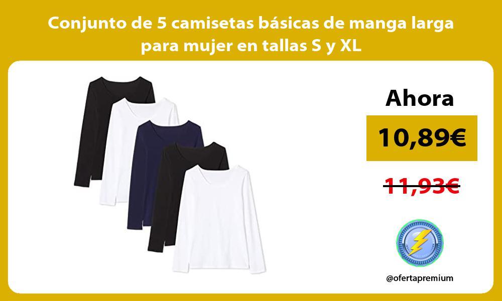 Conjunto de 5 camisetas basicas de manga larga para mujer en tallas S y XL
